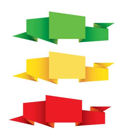 paper origami: Paper origami label Illustration