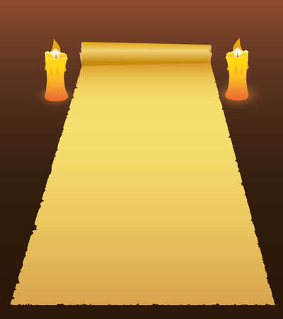 Background with old paper and a candles. Vector Ilustracja