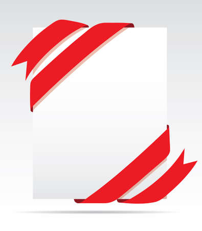 sheet of paper: Sheet paper and red ribbon
