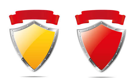antiquities: Shields and ribbon. Vector