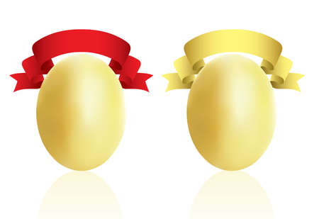 gold eggs: Gold eggs with red and gold ribbons.