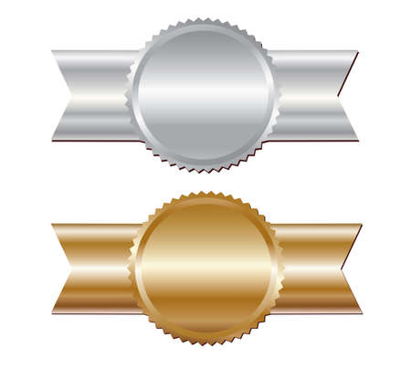 Gold and silver blank awards. Vector.