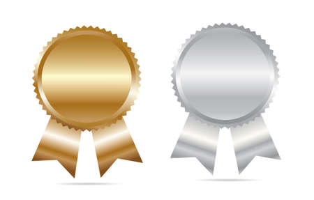 qualify: Gold and silver blank awards. Vector.