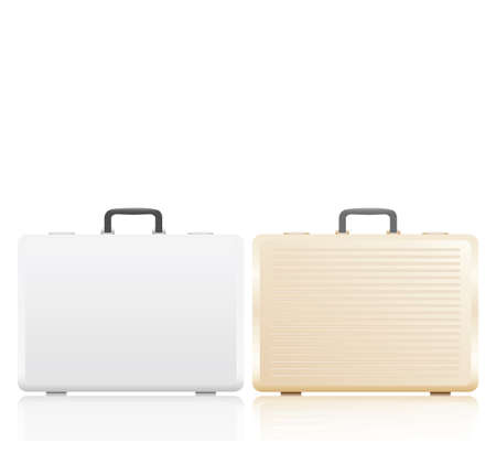 Gold and silver briefcase on white background. 矢量图像