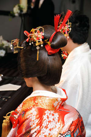 kanzashi: Japanese Wedding Stock Photo