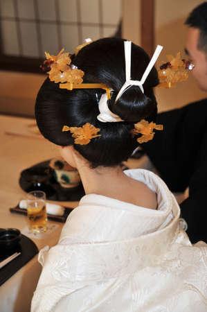 kanzashi: Bride in Kimono Stock Photo