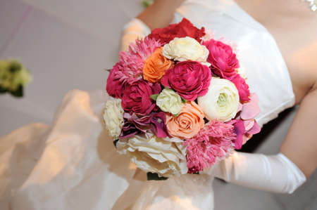 dazzling: Bride and bridal bouquet up, beautiful and dazzling marriage