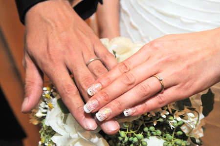unveiling: Hand of the bride and groom, wedding ring joy, of delighted unveiling scene