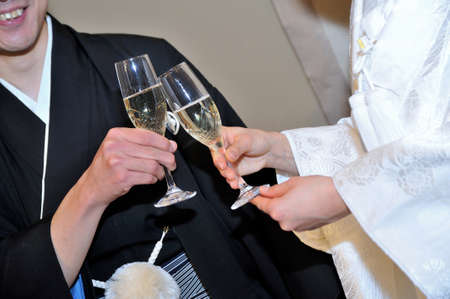 unveiling: Toast, joy of unveiling scene in banquet hall by groom bride