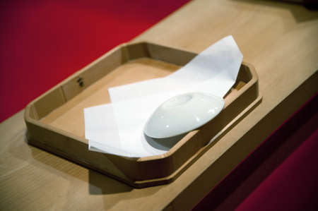 matchmaker: Of at Shinto-style weddings, relatives compaction of toast, ritual by the bride and groom and wedding attendees, matchmaker of the cup scene