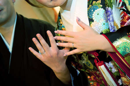 unveiling: Wedding ring up of groom bride, the unveiling of the ring of at your state in which the Harebare it melts also tension of Shinto-style weddings scene