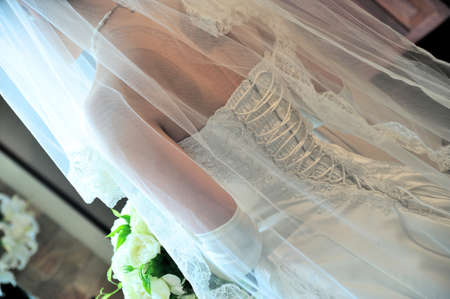 mariage: Mariage that in the back style dress train is shine a very nice design Stock Photo