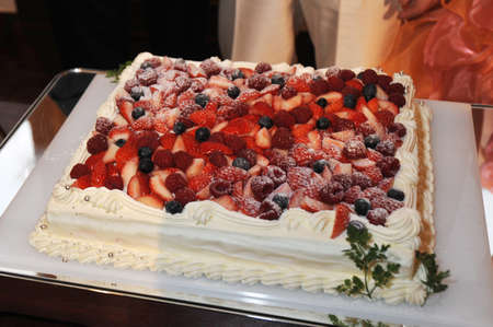 receptions: Cake raw cream cake at a restaurant wedding