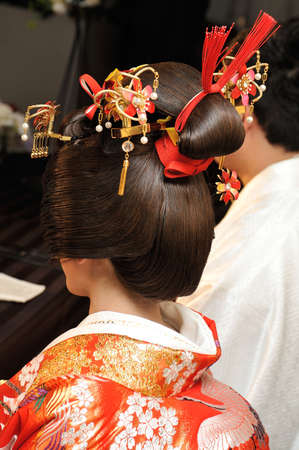 adjournment: Kimono marriage color adjournment, gorgeous bride of Bunkin Takashimada Japanese coiffure