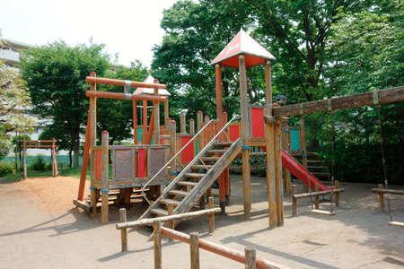子供の遊び公園、児童公園の遊びの施設・設備 写真素材