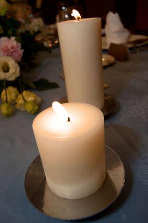 sleek: Sleek, candle lights decorate the elegant terraced