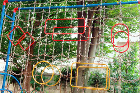 playground equipment: Playground equipment, wheel Hanging in the park