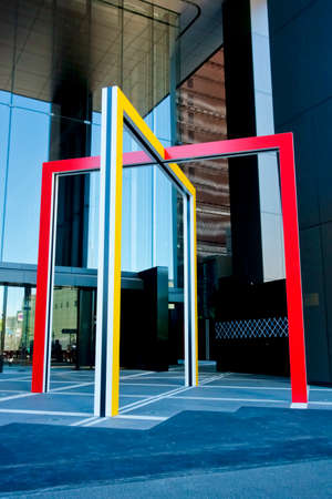 Colorful objects at the entrance of the business district Banco de Imagens