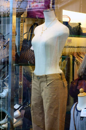 Mannequin of a shopping street apparel shop