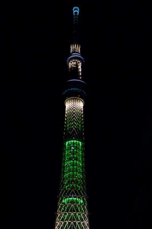 Tokyo-December 18, 2018: December 18, 2018 in Tokyo Oshiage. A gorgeous night view of the downtown New Sky Tower Tokyo Sky Tree.