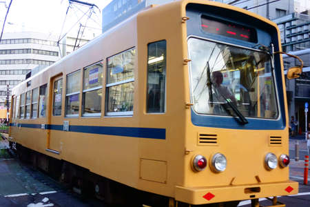August 1, 2016 Tokyo: August 1, 2016 Tramway near Tokyo Otsuka. This tram is the only tram connecting the Waseda and Minowa lines in Tokyo. It is an important public transport for the local people on the tram that runs through the downtown area of Tokyo.