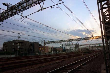 Tokyo-October 12, 2016: October 12, 2016 Twilight evening sky view of Mitaka train yard in the evening of JR.
