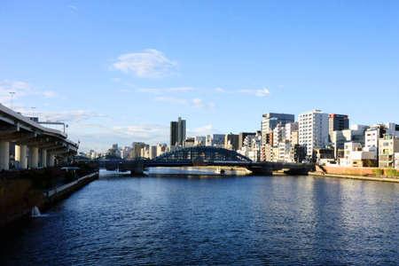 Panoramic view of Tokyo Sumida River waterfront