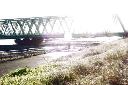 Large railway bridge for railway vehicles pertaining to taiga