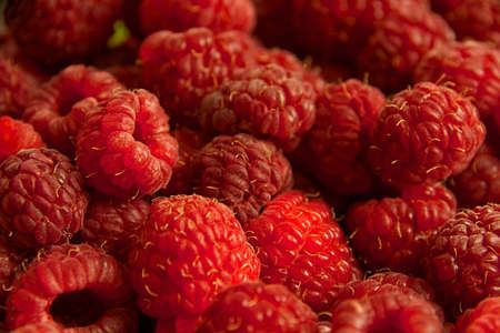 red raspberries as a background Stock Photo