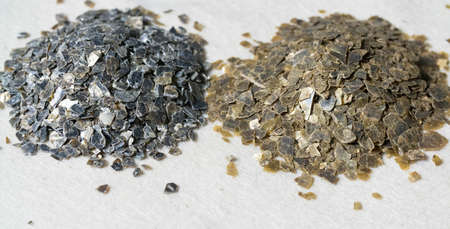 tabular: Mineral Vermiculite Samples for Production Raw Mineral Stock Photo