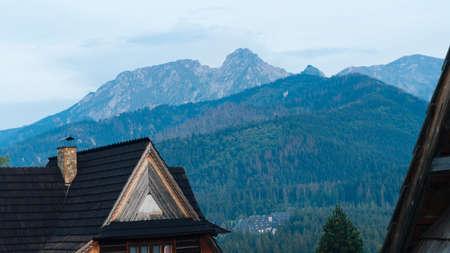 guesthouse: Guesthouse and mountain landscape horizon in Zakopane Stock Photo