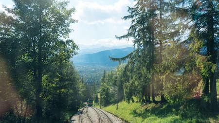 giewont: Railroad tracks for mountain lift on Gubalowka, Poland.