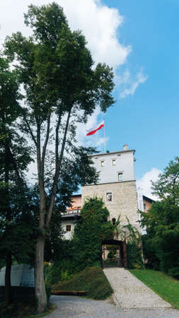 eagle nest rock: KORZKIEW, POLAND - SEP 3, 2016: Korzkiew Castle. This mediaeval defence fortress was built in the mid-14th century. It belongs to castles end fortresses: Eagles Nests Trail near Krakow