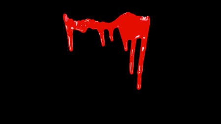 gore: Blood Dripping Down Over Transparent Background with Alpha Channel. Easy use in motion design 4K