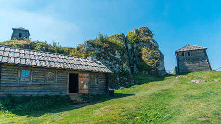 PODZAMCZE, POLAND - SEP 03, 2016: Mount Birow rises 461 m above sea level. It is one of the characteristic hills in the area of Podzamcze and Ogrodzieniec.