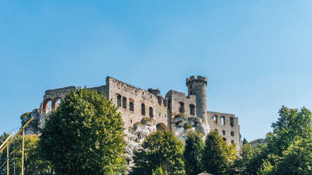 OGRODZIENIEC, POLAND - SEP 03, 2016: Ogrodzieniec Castle is the largest castle of the Krakow-Czestochowa Upland and, undoubtedly, one the most beautiful castles in Poland.