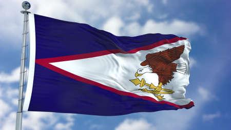 American Samoa Flag in a Blue Sky.