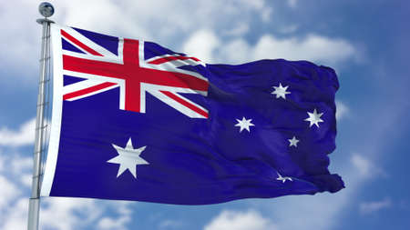 Australia Flag in a Blue Sky. Stock Photo