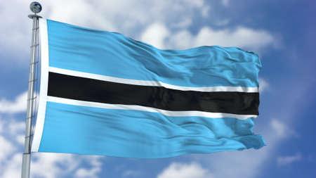 Botswana Flag in a Blue Sky. Stock Photo