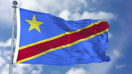 Congo Democratic Republic of the Flag in a Blue Sky. Standard-Bild
