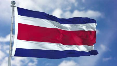 Costa Rica Flag in a Blue Sky.