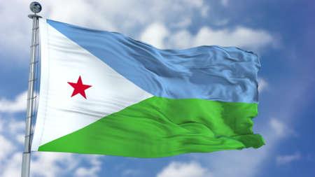 Djibouti Flag in a Blue Sky. Stock Photo