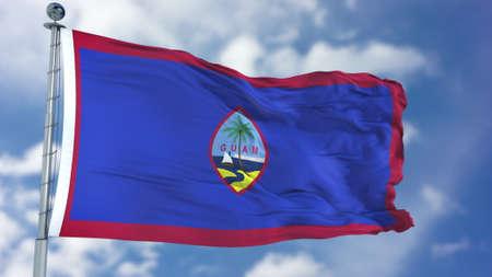 Guam Flag in a Blue Sky. Stock Photo