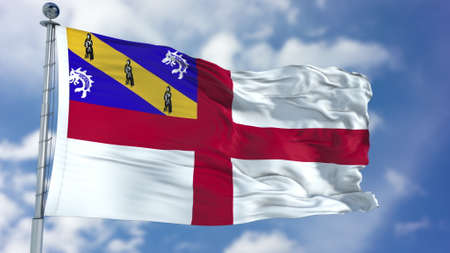 Herm Flag in a Blue Sky. Stock Photo
