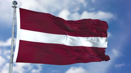 Latvia Flag in a Blue Sky. Foto de archivo - 99311953