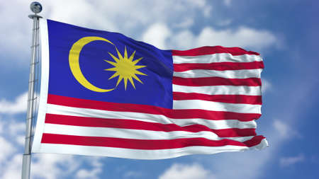 青空のマレーシア旗 写真素材