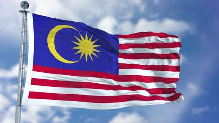 Malaysia Flag in a Blue Sky.