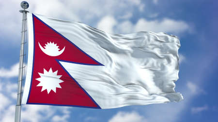 Nepal Flag in a Blue Sky. 免版税图像