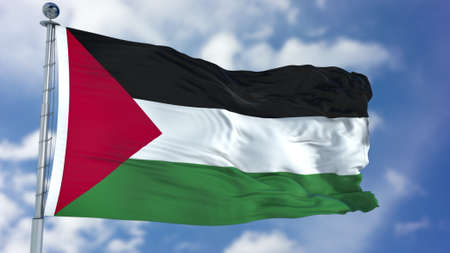 Palestine Flag in a Blue Sky.
