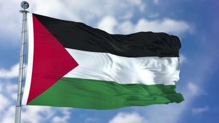 Palestine Flag in a Blue Sky.